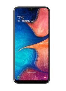 هاتف جالاكسي A20  ضمان الحداد ثنائي الشريحة لون اسود وبذاكرة داخلية سعة 32 غيغابايت ويدعم خاصية الجيل الرابع LTE