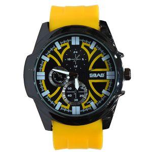 ساعة يد رجالي  رياضية -اصفر -بالدرزن)