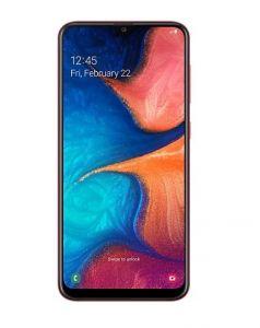 هاتف جالاكسي A20  ضمان الحداد ثنائي الشريحة لون أحمر وبذاكرة داخلية سعة 32 غيغابايت ويدعم خاصية الجيل الرابع LTE